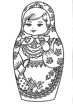 Uma matrioshka , matriochka ou matrioska (em russo - матрёшка ou матрешка ) é uma boneca, um brinquedo tradicional da Rússia, c. Matryoshka Doll, Kokeshi Dolls, Coloring Book Pages, Printable Coloring Pages, Cross Stitch Embroidery, Embroidery Patterns, Embroidery Art, Digi Stamps, Paper Dolls