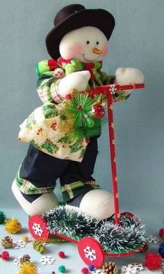 Christmas Woodland Snowman Ready to Ski Decoration Christmas Chair, Christmas Snowman, Christmas Time, Christmas Stockings, Christmas Ornaments, Snowman Crafts, Christmas Crafts, Christmas Decorations, Holiday Decor