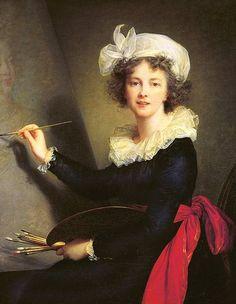 Altrettanto famosa, Élisabeth Vigée-Le Brun,  pittrice francese, considerata una delle più grandi ritrattiste del suo tempo, con Maurice Quentin de La Tour. Messa in collegio al convento della Trinità all'età di sei anni, si notò che la bambina disegnava dappertutto, sui muri della scuola non meno che sui suoi quaderni. Dopo un'infanzia in cui si vedeva brutta e sgraziata, divenne una delle donne più belle di Parigi.  Qui l'autoritratto del 1790 conservato a Firenze.