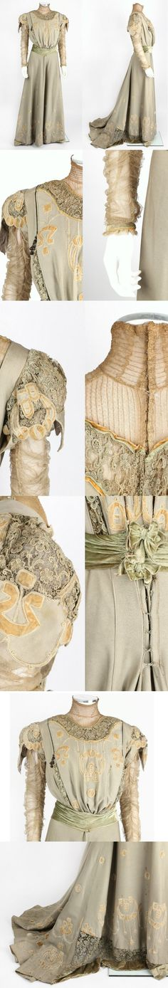 """Arts and Crafts sage green wool day dress with silk velvet sash and designs, circa 1905 via eBay 