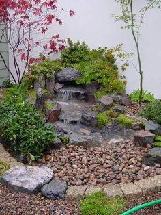Wonderful Free zen garden waterfall Tips Small Japanese Garden, Japanese Garden Design, Japanese Water Feature, Japanese Gardens, Backyard Water Feature, Ponds Backyard, Japan Garden, Zen Garden Design, Pond Landscaping