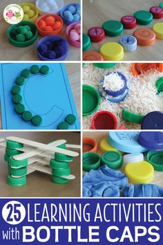 Plastic bottle caps are perfectly sized for little hands and can be used for so many things. Here are 25 ways to use plastic bottle caps for learning activities with kids. Alphabet Activities, Toddler Activities, Preschool Activities, Preschool Sign In, Number Activities, Free Preschool, Kindergarten Prep, Kindergarten Classroom, Preschool Centers
