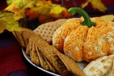 Pumpkin Shaped Cheese Ball - http://www.forkly.com/recipes/pumpkin-shaped-cheese-ball/