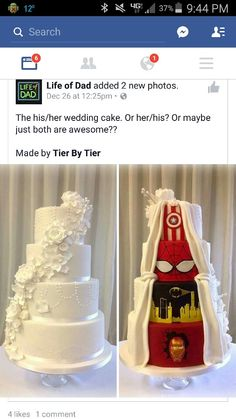 Fun surprise wedding cake... combined groom's cake into the actual wedding cake... I like that!