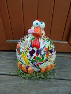 Paint Splatter Chicken Gourd Decor by BostfulBits on Etsy, $55.00