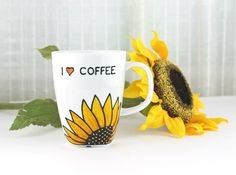 Porcelain Cup, Coffee Mug, Coffee Cup, Latte Mug, Love Coffee - Sunflower Design, Hand Painted on Etsy, $31.10