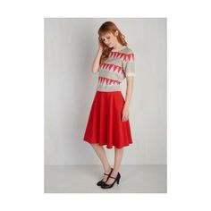 Americana Long Full Just This Sway Skirt ($50) ❤ liked on Polyvore featuring skirts, apparel, bottoms, full skirt, red, high waisted midi skirt, high waisted long skirt, red skater skirt, skater skirt and red circle skirt