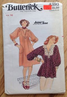 A vintage designer Jane Tise Butterick 4393 sewing pattern from my Etsy shop https://www.etsy.com/listing/216281088/uncut-vintage-1970s-designer-jane-tise