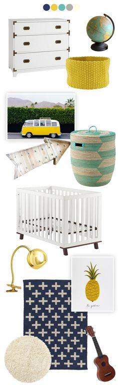 Baby Boy Nursery Inspiration: Blues whites yellow Grey