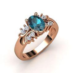 The Gabrielle Ring #customizable #jewelry #Londonbluetopaz #diamond #rosegold #ring