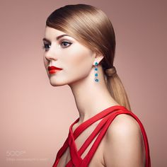 Fashion portrait of elegant woman with magnificent hair by heckmannoleg