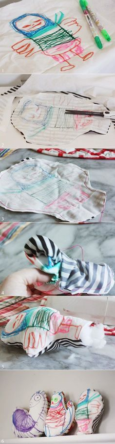 Want to turn your chid's drawing into a plush toy? Easy! Fabric markers are the key.