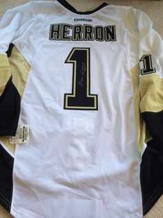 DENIS HERRON Signed Pittsburgh Penguins Game Authentic PRO NEW Hockey Jersey 2