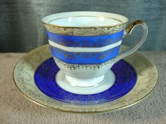 Gold China Tea Cup and Saucer Occupied Japan Handpainted Demitasse Blue w/Gold #GoldChina
