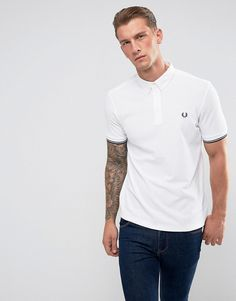 FRED PERRY SLIM FIT WOVEN COLLAR POLO SHIRT WHITE - WHITE. #fredperry #cloth #