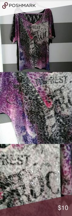 Maurices Plus Tee Maurice's graphic tee shirt full black lace in the back. Purple leopard and guitar graphic and plus rhinestones! My camera doesn't do this shirt justice on the color really pretty purple and pink! Only worn once! Size 3 Maurices Tops Tees - Short Sleeve