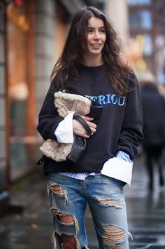 Wearing ACNE Mysterious sweater, Suno shirt, Ralph Lauren jeans, Little Liffner clutch