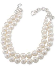 Carolee Silver-Tone Imitation Pearl Adjustable Collar Necklace - Silver