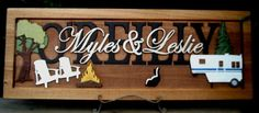 Camping scene (skunk optional) :) /Anniversary gift / Wedding gift / Personalized Carved Wooden Plaque / carved art