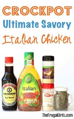 Crock Pot Savory Italian Chicken Recipe! ~ from TheFrugalGirls.com ~ just a few simple ingredients and you've got a crazy delicious chicken dinner! This makes a great Crockpot Freezer Meal, too! #slowcooker #recipes #thefrugalgirls