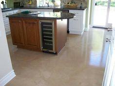 Beige concrete floor in kitchen