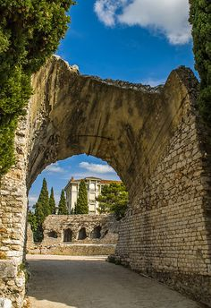 Roman ruins at the Arènes de Cimiez, Nice, France. These ruins are in a nice park near the Monastery of Cimiez