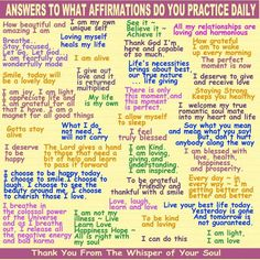 Affirmations can change your energy inside as well as that which surrounds you and goes with you through your day!