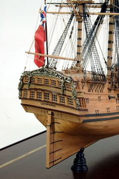 """HMS Leopard By: Alain Benoit  50-gun ship of 1790, built by W. Rule at Sheerness Dockyard, England.    Scale: 1/8"""" = 1' Scale Size: 33 3/4"""" x 14 3/4"""" x 29"""""""