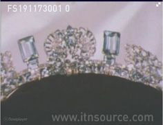 Princess Anne's Pine Flower Aquamarine tiara, as it was presented in it's case before it's alteration. Probably altered in 1970s, and the central 'flower' reworked into a brooch.