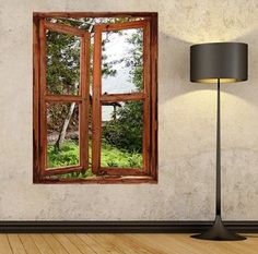 Illusion Window View Wall Mural Stickers Frame Art Self Adhesive Wallpaper Of The Tranquil Garden Path In Mountains