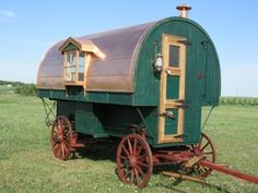 A copper-topped sheep wagon - imagine sitting by a campfire under the stars, hearing he bleating of sheep as they settle for the night...beautiful.  #Sheep Wagon #Caravan #Vardo