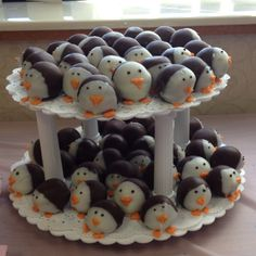 Very cute and tasty Penguin cake snacks . Would have one of these anytime