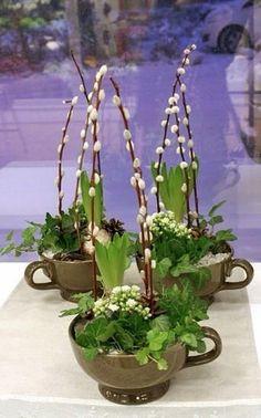 Easter decorations/ Hyacinter och vide i tekoppar Deco Floral, Arte Floral, Flower Decorations, Christmas Decorations, Circus Decorations, Deco Nature, Decoration Plante, Ikebana, Spring Crafts