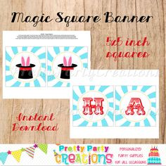 MAGIC PARTY collection  square banner  5x5 by PrettyPartyCreations, $8.50
