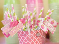 paper straws cupcake party