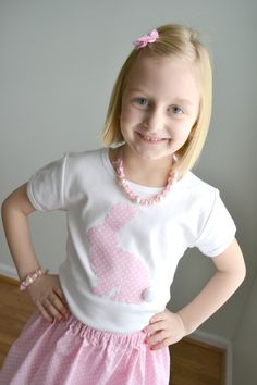 PINK EASTER BUNNY Girls Polka Dot Bunny with Tail Shirt & Skirt Set Sizes 12m-6T. $24.95, via Etsy.