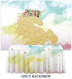 15681e3b454 Amazon.com   Allenjoy 7x5ft photography backdrop background watercloor Gold  Glitter Unicorn cloud Birthday party banner Newborn props photo studio  booth ...