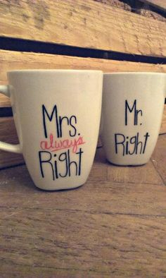 Mr. & Mrs. Right (always) Right. Know more: jedrki.blogspot.com/ #diy #gift #cup #gifts #christmas gifts #cups