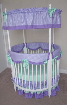 Round Crib Bumperless Mint and Lavender / Purple Designer Baby Girl Bedding with Rail Guard Covers and Canopy