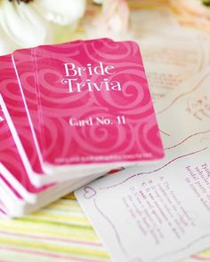 Take bridal shower games to a whole new level with these terrific trivia teasers. This bridal shower trivia game features cards with questions about weddings, traditions, love-themed facts, statistics and more!