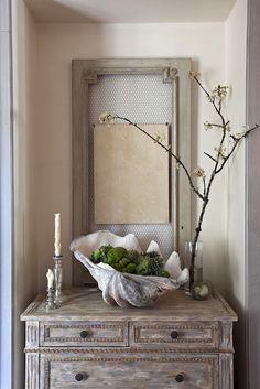 ♅ Dove Gray Home Decor ♅   gray hallway vignette