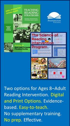Two evidence-based reading intervention programs: The full-year Teaching Reading Strategies (word recognition and language comprehension) and the half-year The Science of Reading Intervention Program (word recognition). Response To Intervention, Reading Assessment, Reading Intervention, Teaching Reading, Reading Comprehension, Guided Reading, Common Core Vocabulary, Academic Vocabulary, Teaching Vocabulary