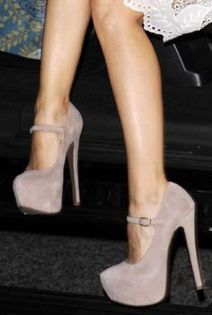 shoemint taupe heels w/ buckle