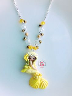 Polymer Clay Mermaid Pendant Yellow by GinaCarrascoHandmade