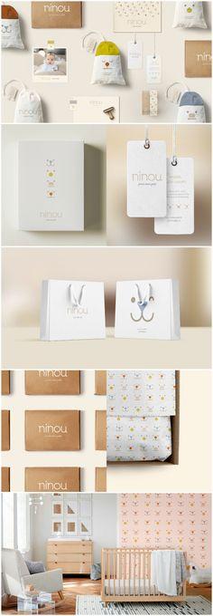 My dear Studio - Identity Ninou Baby Clothes Clothing Packaging, Fashion Packaging, Brand Identity Design, Branding Design, Baby Shop, Kids Packaging, Clothing Brand Logos, Baby Clothes Brands, Packaging Design Inspiration