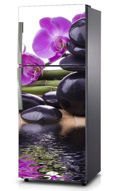 Naklejka na lodówkę - Orchidea z czarnym kamieniem