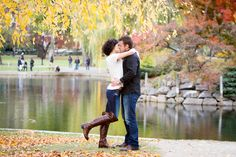 Engagement proposal and then an engagement Session at the Boson Public Garden in the Fall - BKB & CO. | Boston Wedding Photography and Video Studio