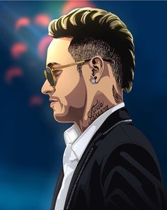 Neymar Jr w okularach w wersji rysunkowej Football Neymar, Football Art, Nike Football, Portrait Vector, Digital Portrait, Cartoon Logo, Cartoon Drawings, Illustration Vector, Vector Art