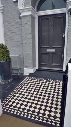 victorian front garden design london black and white victorian mosaic tile path Victorian Front Garden, House Paint Exterior, Front Door Steps, Victorian Front Doors, Front Entrances, Victorian Terrace, Porch Tile, Front Garden, House Front