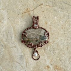 Sea-Change Fossil Coral and Pearl Pendant by magpie-poet